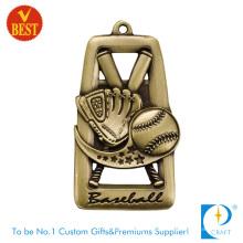 Carimbo de cobre personalizado de alta qualidade Antique Gold Baseball medalha com escavar