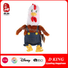 Colorful Plush Farm Animal Stuffed Chicken with Overalls