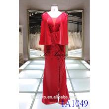 1A1049 Exquisite vestido vermelho Junoesque Mantle Beading Column Prom Dress Evening Dress