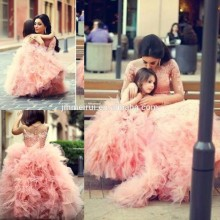2014 New Arrival Lovely Pink Tiered Tulle Lace Long Pageant Birthday Little Flower Girl Dresses Free Shipping JFD050
