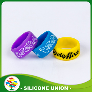 Custom Logo With Color Filling Silicone Ring for Wedding