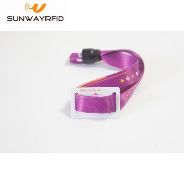 One Way Lock RFID Fabric Wristband untuk Tiket Tiket
