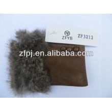 2016 Heißer verkaufender Kaninchenpelz trimmen fingerless lederner Handschuh