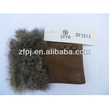 2016 guante de cuero fingerless vendedor caliente de la guarnición de la piel del conejo
