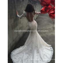 Vestido De Noiva Luxury Appliqued Lace Big Train Mermaid Lace à manches longues Robe nuptiale Weddding 2017 MW991