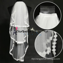 New Arrival 2015 Embroidery Ivory Edges 3 Layers Women Wedding Veil