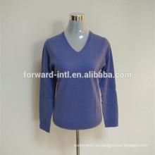 moda básica 100% pureza cashmere v cuello jersey de mujer