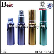 cheap 10ml glass perfume bottle empty gold green spray glass tube perfume bottle for sell