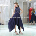 2017 new fashion western party wear ball gown sleeveless beaded royal blue Irregular evening dress