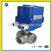 ОЦГ-010 3-полосная нержавеющей стали 304 DC40 водостотьким dc24v моторизованный шаровой клапан для автоматического контроля потока воды оборудование
