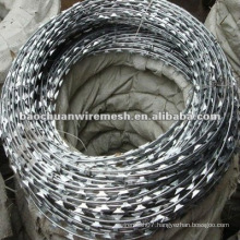 CBT-65 electro galvanized Scraper type razor barbed wire for protection with reasonable price in store(manufacturer)