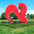 extérieur jardin décoration métal craf grand deux coeurs rouges sculptures