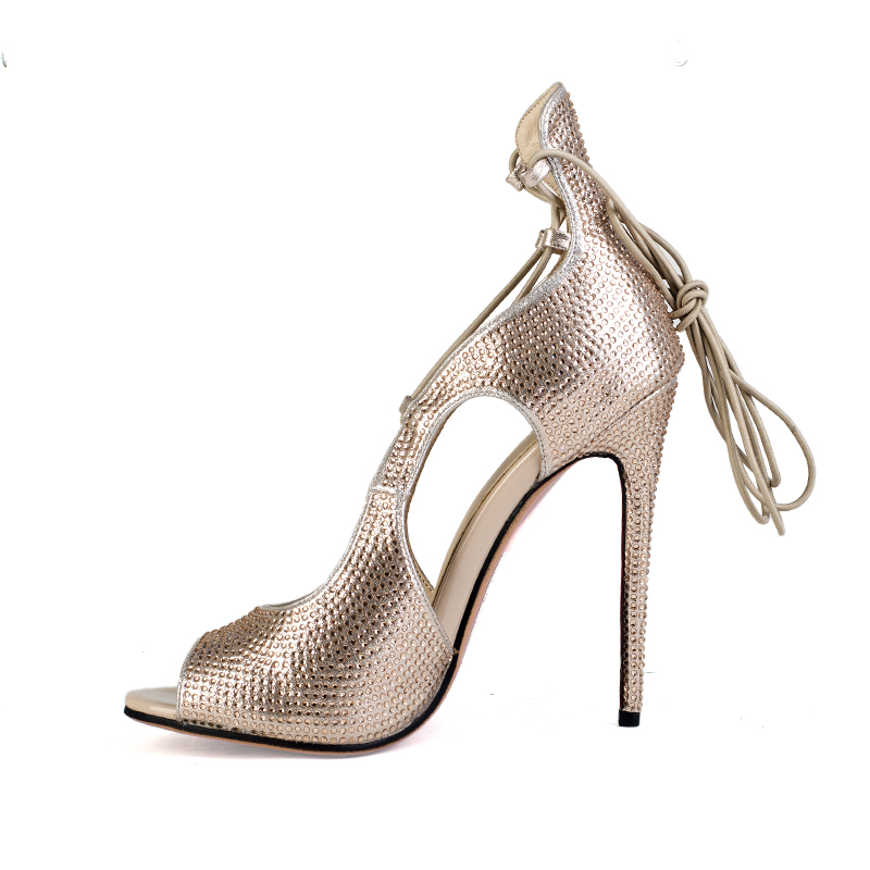 Sexy stiletto heel goldstrap lace shoes