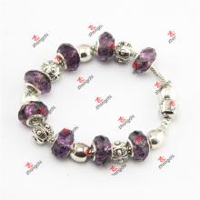 Светло-фиолетовый браслет из цельной змейки из бисера с цепочкой (SKD60226)