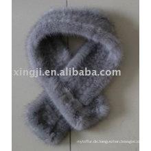 Natürlicher Saphir Farbe Nerz gestrickter Schal