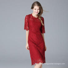 Fashion Latest Red Lace Charming Women′s Dress