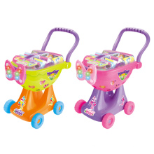 Shopping Trolley Plastic Toy Shopping Cart with Light (H0009426)