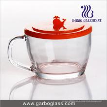 Caneca de chá de vidro de 400ml com tampa de PC