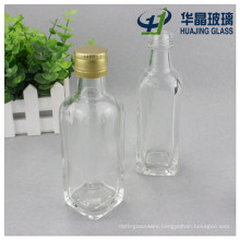 Clear 125ml Square Glass Oil Bottle and Aluminum Lids for Sale