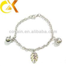 Pulseira de jóias de aço inoxidável com pingente de maçã e folha para menina linda