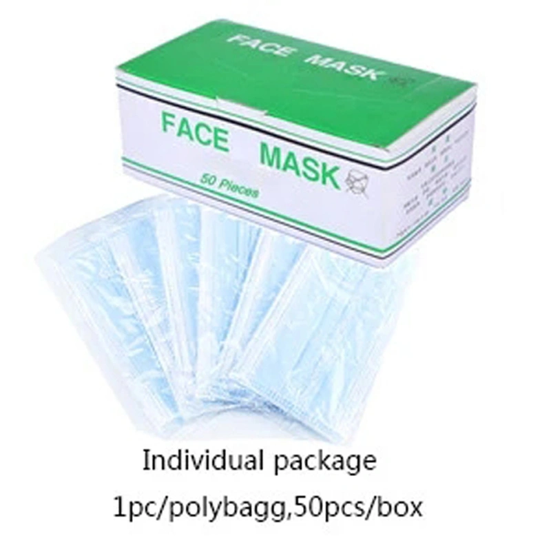 Hospital Doctor Nurse 3 Ply Non 2 Packing Woven Mouth Breathing Nose Face Virus Protective Surgical Medical Dust Disposable Mask