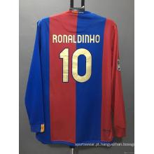 Camisa de futebol retrô do Barcelona RONALDINHO XAVI camisa de futebol