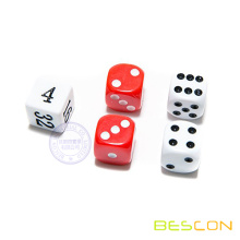 Set de dados de Backgammon estándar 16 MM blanco y rojo