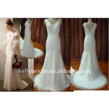 Lace & beading com tail vestido de casamento personalizado luca