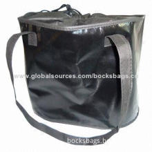 Nonwoven laminated shopping bags, 2 long handles, bag top with drawstring closure, logo is available