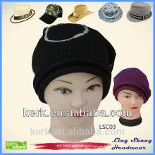 Sombreros de punto sombrero de invierno gorra de gorrita tejida sombrero de algodón hip hop sombrero de turbante, sombrero de esquí