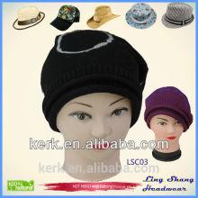 Bonés de malha chapéus de inverno boné chapéu beanie algodão hip hop PAC turbante, chapéu de esqui