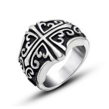Мода Из Нержавеющей Ювелирные Изделия Крест Кольцо Старинные Матовый Черный