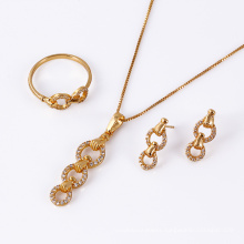 61221 fashion elegant hot sale gold filled simple design women jewelry set wedding