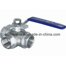 Válvula de bola de tres vías de tipo acero inoxidable Q15f T