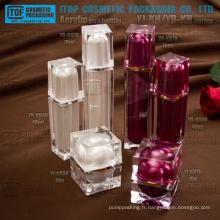 Luxe haut de gamme de conception unique et magnifique double couches de boîtes d'emballage cosmétique contenant carré acryliques bocal et bouteille