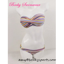 Lady′s Two Piece Swimwear Swimsuit Bikini with Striped Pirnt Twist at CF
