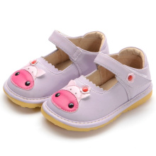 Фиолетовый Cute Baby Cow Squeaky Shoes Handmade Soft
