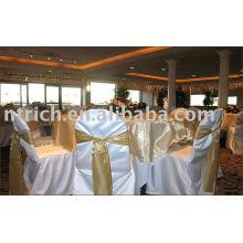 Cubre silla banquete del satén, cubiertas de la silla del hotel/de la boda, marco del organza