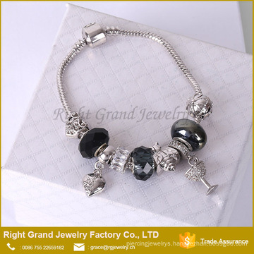 Fashion Heart Bracelet Cheap Charm Bead Bracelet Snake Chain Bracelet jewelry