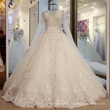 LS56578 Trem de painel de renda de manga longa real vestido de noiva peplum strapless sexy incrível sexy