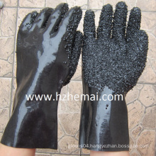 Rough Finish Gauntlet Heavy Rubber Black PVC Work Glove