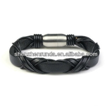 Chrismas gift black weave leather bracelet with magnet clasp for men china manufacturers