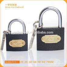 Cadeado de ferro cinzento de alta qualidade com chave cruzada
