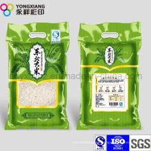 PA laminado Embalaje de plástico Bolsa de arroz con agujero de la manija