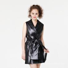New Women Leather Vest Sleeveless Jacket