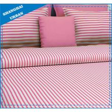 Juego de sábanas de algodón impresas con rayas rosas