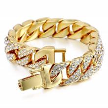 Mens Womens Hip Hop Bracelet Iced Out Curb Cuban 18k Gold Plated Bracelet