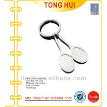 Custom Tennis racket shape keychains/keyrings metal