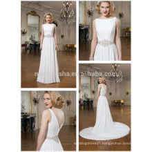 Simple White Ivory Bridal Gown 2014 Bateau Neck Full-length Chiffon A-Line Wedding Dress With Detachable Long Tail NB0647