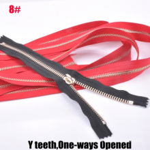 8# One Way Open-End Golden Brass Y Teeth Zipper